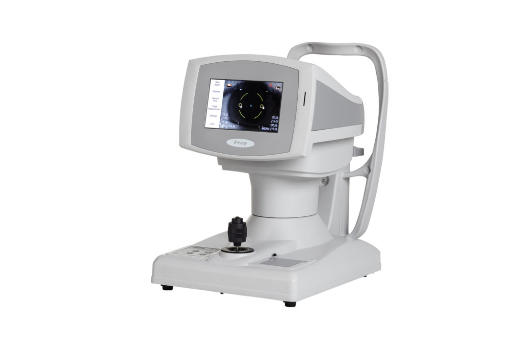 Frey non-contact tonometer with soft puff of air